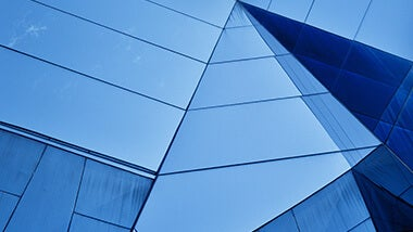 blue sharp window angles on a building